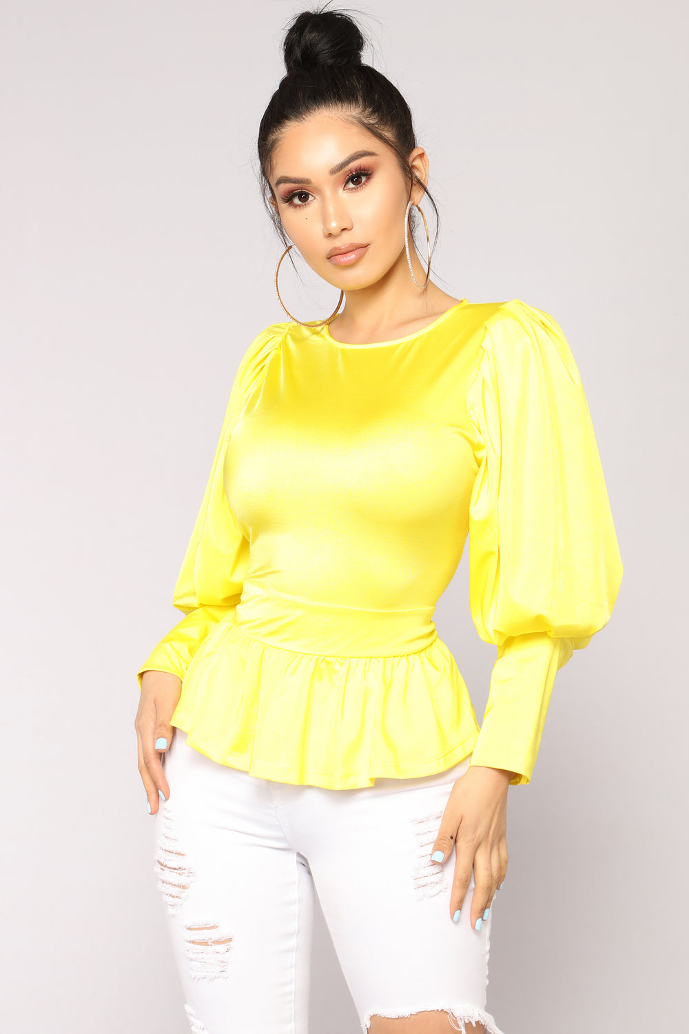 Payton Puff Sleeve Top - Yellow