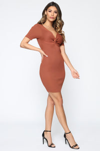 Pieces Of You Sweater Mini Dress - Rust