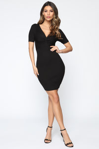 Pieces Of You Sweater Mini Dress - Black