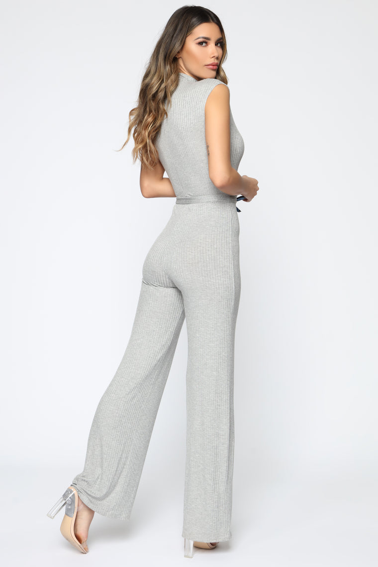 Living In It Jumpsuit - Heathered Grey