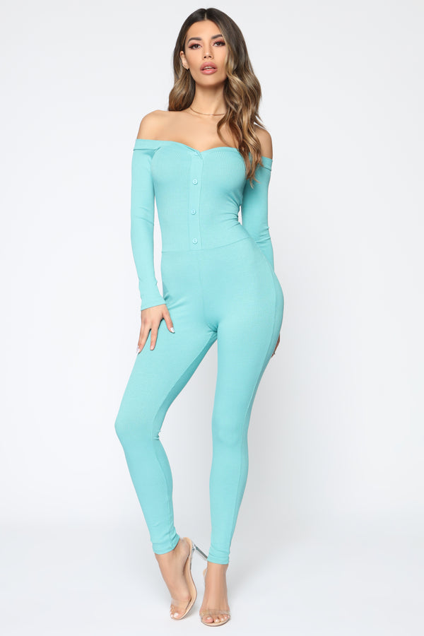 cd5af179ab5d Fool In Love Off The Shoulder Jumpsuit - Dark Mint