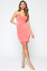 Something To Slip Into Mini Dress - Neon Coral