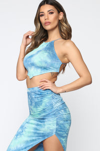 Free Spirit Tie Dye Skirt Set - Sky Blue/Royal