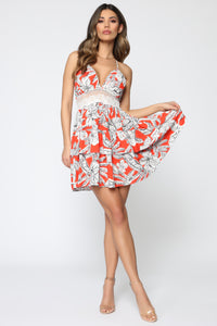 Lost In The Tropics Mini Dress - Red/White