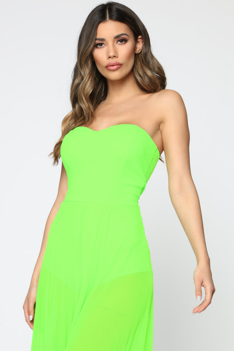 See Right Through You Jumpsuit - Neon Lime