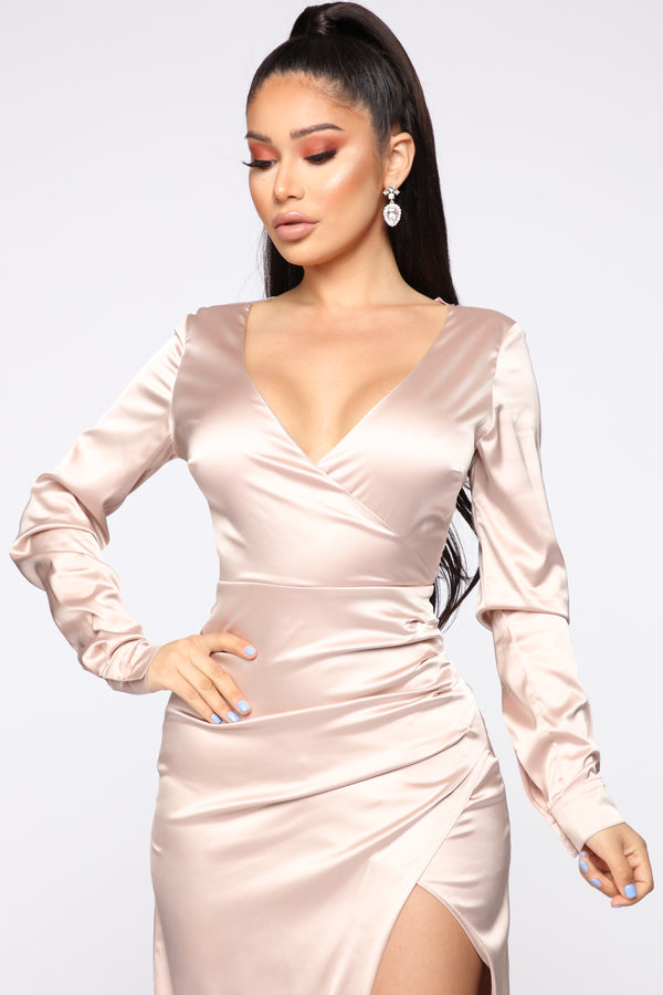 ad6925f82f Dressed Up Tonight Satin Maxi Dress - Champagne