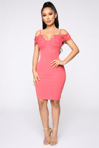 Dinner With Friends Off Shoulder Midi Dress - Coral Angle 2