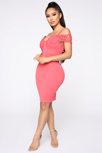 Dinner With Friends Off Shoulder Midi Dress - Coral Angle 3