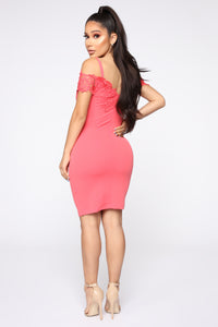 Dinner With Friends Off Shoulder Midi Dress - Coral Angle 4