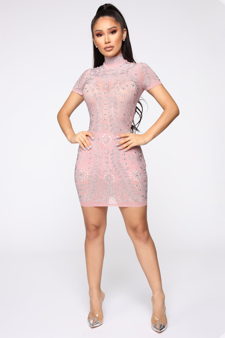 Ultra Babe Studded Dress - Mauve