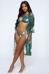 Go For A Swim 3 Piece Bikini Set - Green/White Angle 3