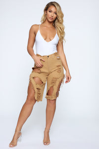 Hyped Up Distressed Shorts - Coffee