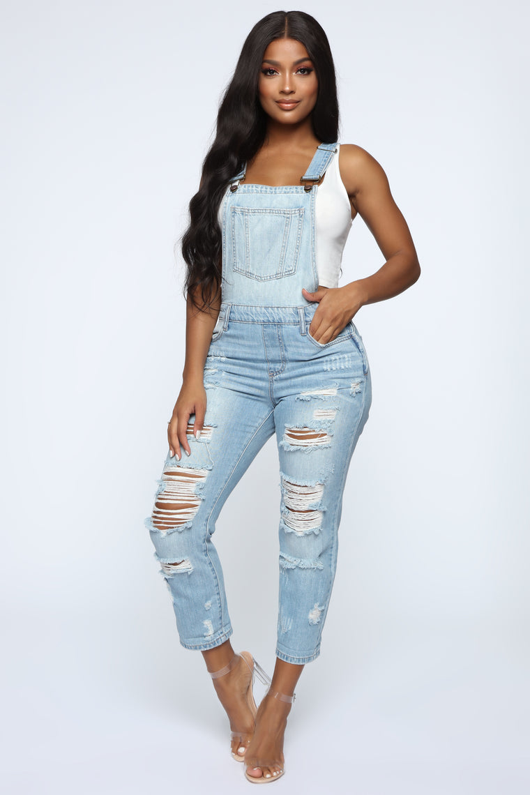 City Girl Distressed Overalls - Light Blue Wash