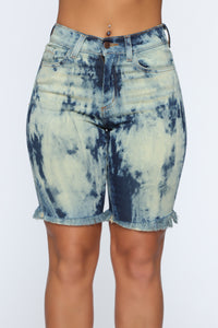 Emotionless High Rise Denim Shorts - Acid Wash