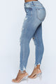 Here We Go Again Distressed Skinny Jeans - Medium Blue Wash