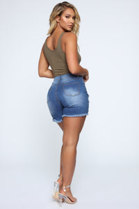 What About It Distressed Shorts - Medium Blue Wash Angle 5