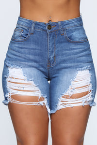 What About It Distressed Shorts - Medium Blue Wash Angle 2