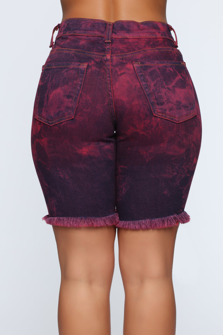 Got Your Heart Racing High Rise Denim Shorts - Red