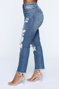 Heather Mom Distressed Jeans - Medium Wash
