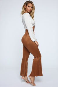 Sabrina Suede Pants - Brown Angle 1
