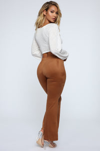 Sabrina Suede Pants - Brown Angle 5
