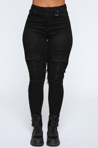 Feeling Right High Rise Denim Cargos - Black Angle 2