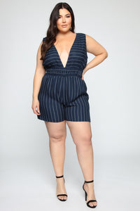 Caught In Your Love Striped Romper - Navy/White