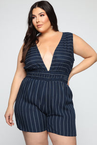 Caught In Your Love Striped Romper - Navy/White Angle 5
