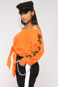 So Extra Off The Shoulder Top - Orange