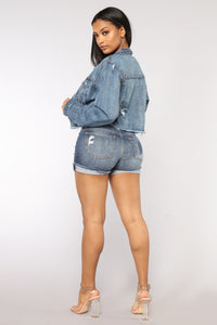 Summer Blue Denim Shorts - Dark Denim