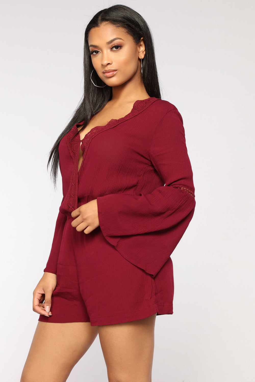 Open Air Romper - Burgundy
