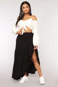 Wrap Me Up Ruffle Skirt - Black