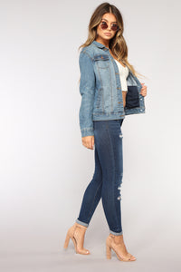 Anything Goes Denim Jacket - Medium Blue Wash