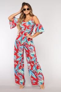 Fiji Bound Cold Shoulder Jumpsuit - Red