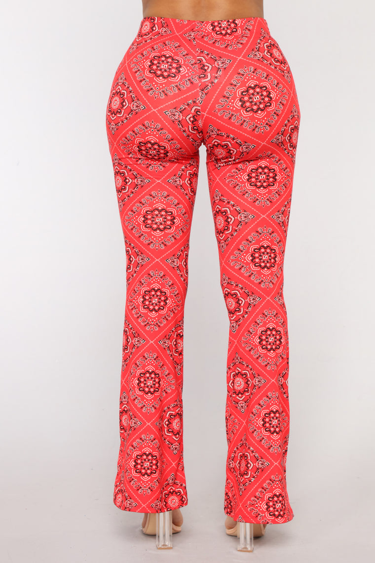 Paisley Print Flare Pants - Red
