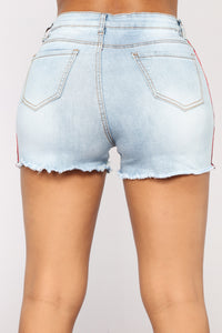 Flat Liner Denim Shorts - Light Blue Wash