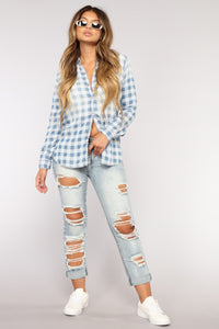 Some Way Boyfriend Jeans - Light Blue Wash
