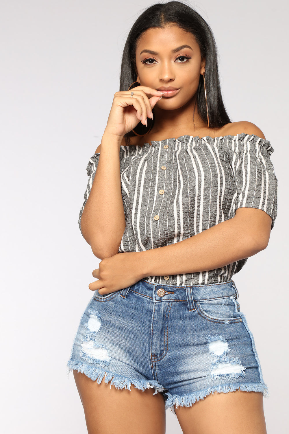 Yin And Yang Off Shoulder Top - Black/White