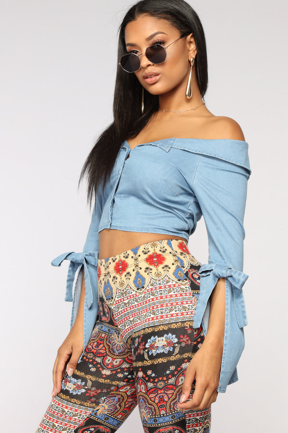 All I Want Off Shoulder Top - Denim