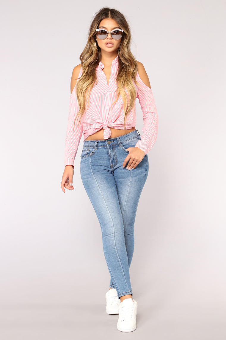 Boss AF Striped Top - Pink/White