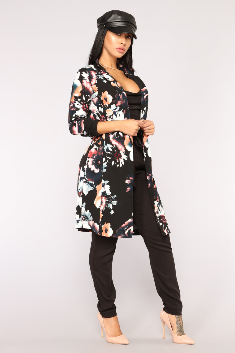 Floral Madness Blazer - Black/combo