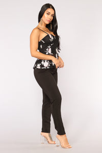 Midnight Lover Floral Top - Black
