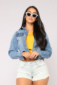 Don't Stress Me Out Denim Jacket - Medium Wash