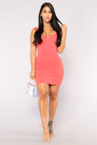 Elise Lace Up Dress - Coral Angle 2