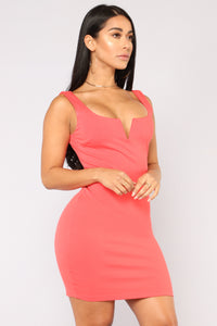 Elise Lace Up Dress - Coral Angle 1