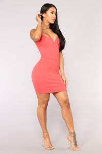Elise Lace Up Dress - Coral Angle 3