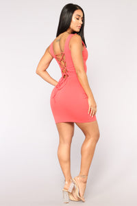Elise Lace Up Dress - Coral Angle 4