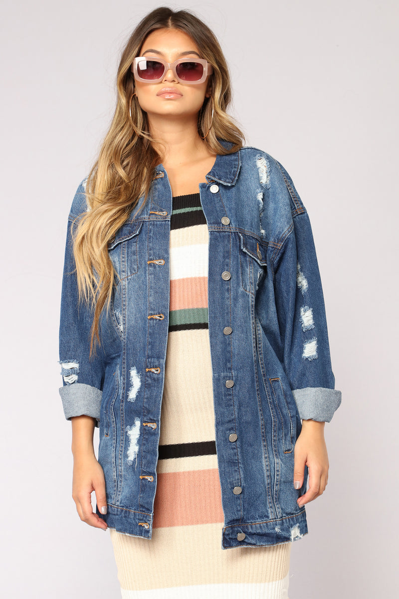Street Chic Distressed Denim Jacket - Dark Denim