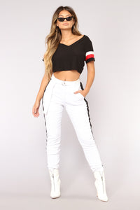 Jada Side Stripe Joggers - White