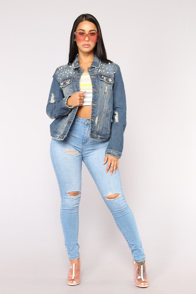 Pretty Pearly Denim Jacket - Medium Denim